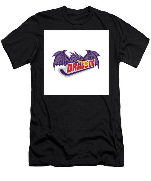 Dragon Fire Hockey Stick Retro Men's T-Shirt (Athletic Fit)