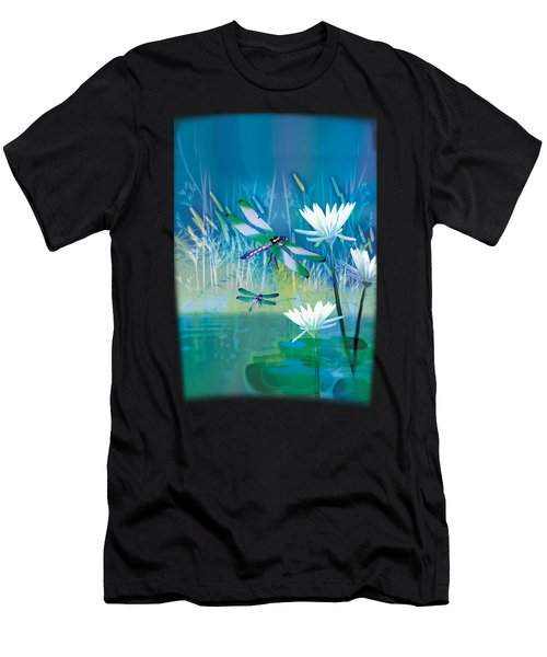 Dragonfleis On Blue Pond Men's T-Shirt (Athletic Fit)