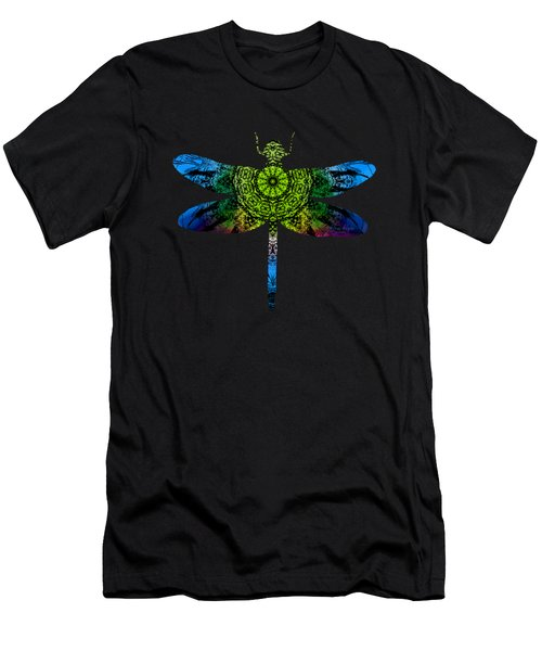 Men's T-Shirt (Athletic Fit) featuring the digital art Dragonfly Kaleidoscope by Deleas Kilgore