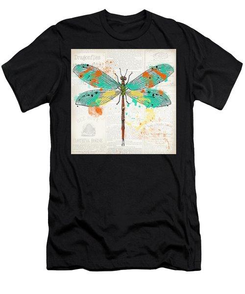 Dragonfly On Newsprint-jp3451 Men's T-Shirt (Athletic Fit)