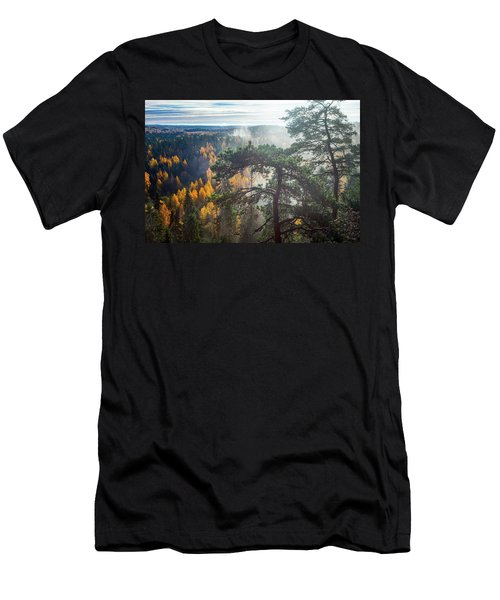 Dramatic Autumn Forest With Trees On Foreground Men's T-Shirt (Slim Fit) by Teemu Tretjakov
