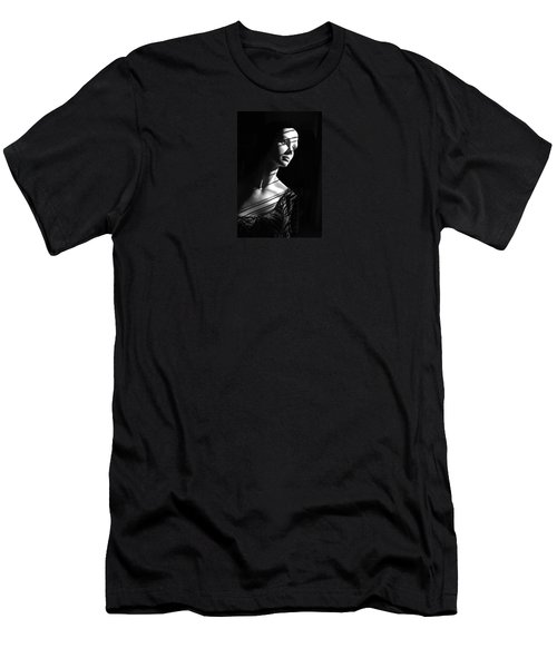 Men's T-Shirt (Athletic Fit) featuring the photograph Dramatic Lucy In Black And White by Nareeta Martin