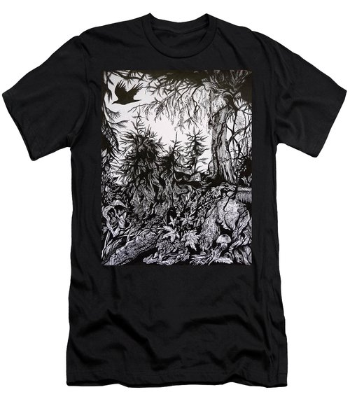 Men's T-Shirt (Slim Fit) featuring the drawing Dreaming Alaska.part One by Anna  Duyunova
