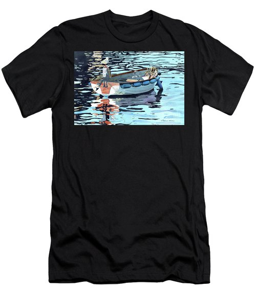 Dreams Adrift, Fishing Boat, Boat Painting, Boat Print, Boat Art Men's T-Shirt (Athletic Fit)