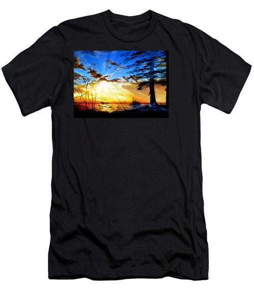 Men's T-Shirt (Athletic Fit) featuring the painting Dreams Of Sunrise Through The Pines by Hanne Lore Koehler