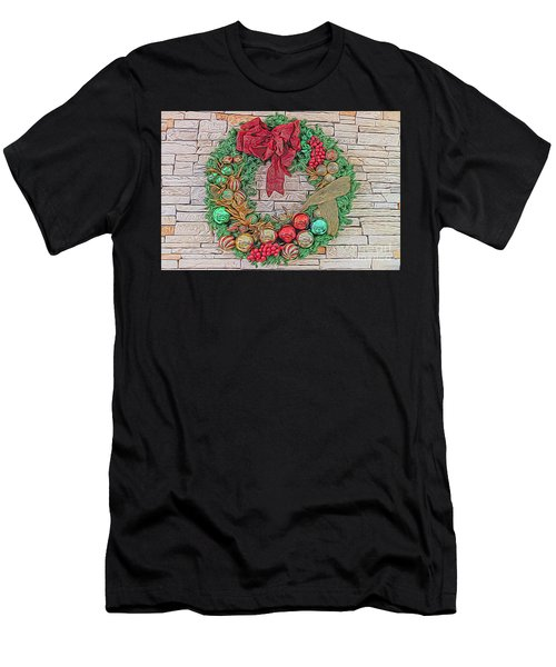 Men's T-Shirt (Athletic Fit) featuring the digital art Dreamy Holiday Wreath by Ray Shiu