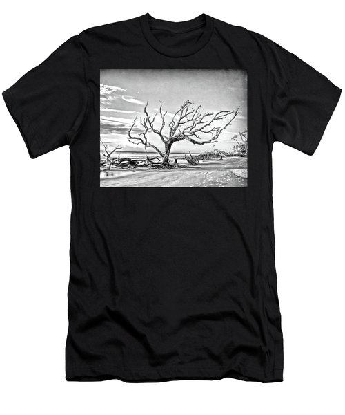 Men's T-Shirt (Athletic Fit) featuring the photograph Driftwood Beach - Black And White by Kerri Farley