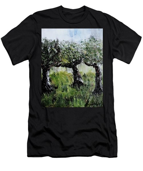 Men's T-Shirt (Slim Fit) featuring the painting Drizzle by Evelina Popilian