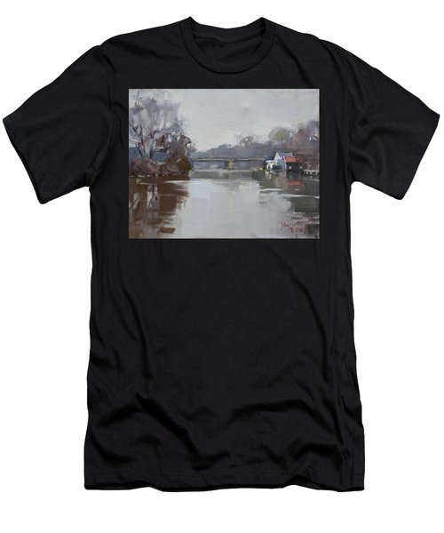 Drizzling At Tonawanda Canal  Men's T-Shirt (Athletic Fit)