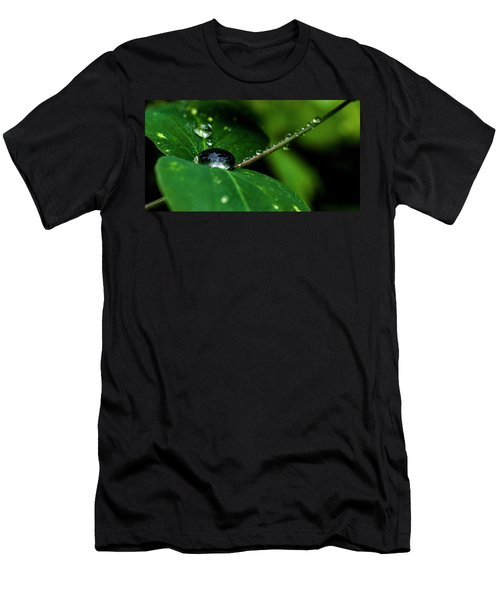 Men's T-Shirt (Slim Fit) featuring the photograph Droplets On Stem And Leaves by Darcy Michaelchuk