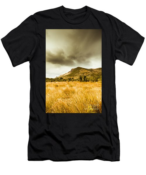 Dry Grassland And Stormy Mountains  Men's T-Shirt (Athletic Fit)