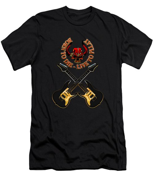 Dual Electric Guitars Men's T-Shirt (Athletic Fit)