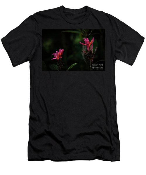 Dual Red Plumerias Men's T-Shirt (Athletic Fit)