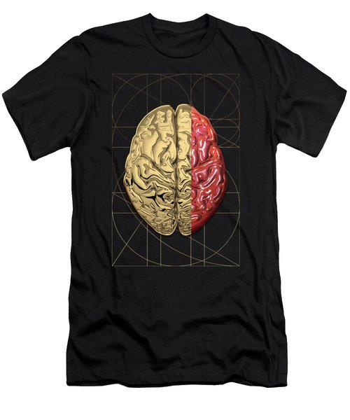 Dualities - Half-gold Human Brain On Black And White Canvas Men's T-Shirt (Athletic Fit)