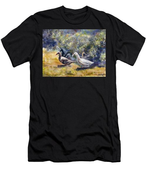 Men's T-Shirt (Athletic Fit) featuring the painting Duck's Day Out by Ryn Shell