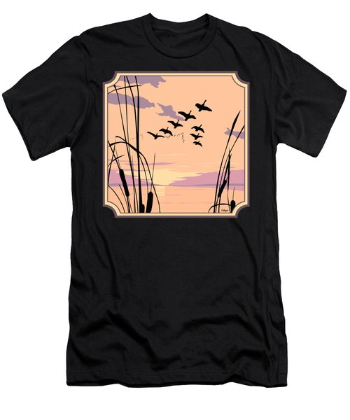 Ducks Flying Over The Lake Abstract Sunset - Square Format Men's T-Shirt (Athletic Fit)