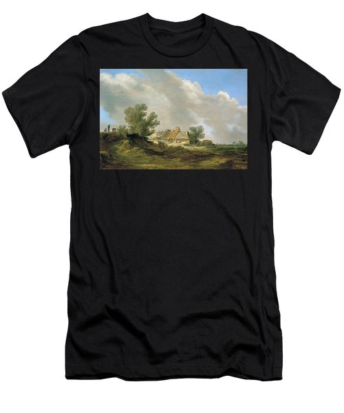 Dune Landscape With Cottage And Figures Men's T-Shirt (Athletic Fit)