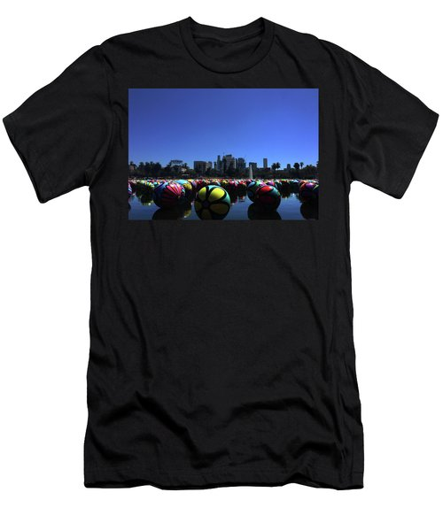Men's T-Shirt (Athletic Fit) featuring the photograph Dusk Finds The Spheres Of Macarthur Park by Lorraine Devon Wilke