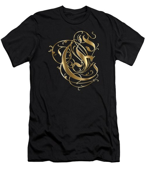 E Golden Ornamental Letter Typography Men's T-Shirt (Athletic Fit)