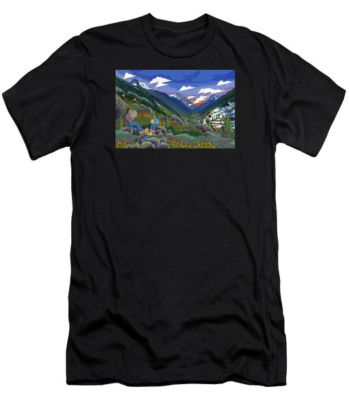 Men's T-Shirt (Athletic Fit) featuring the painting Eagle Boys Learn To Sing by Chholing Taha