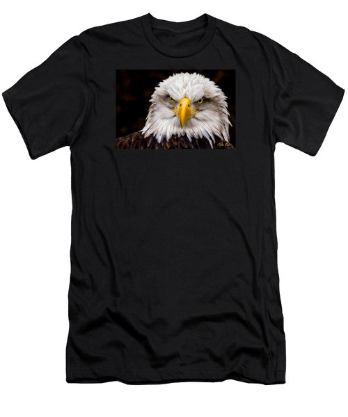 Men's T-Shirt (Athletic Fit) featuring the photograph Defiant And Resolute - Bald Eagle by Rikk Flohr