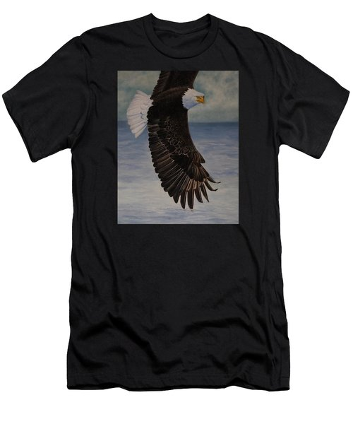 Men's T-Shirt (Slim Fit) featuring the painting Eagle - Low Pass Turn by Roena King