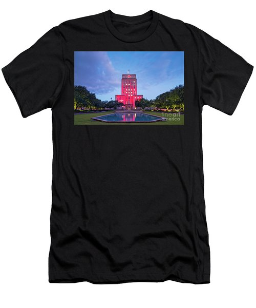 Early Dawn Architectural Photograph Of Houston City Hall And Hermann Square - Downtown Houston Texas Men's T-Shirt (Athletic Fit)