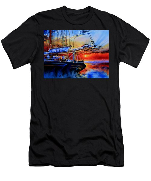 Men's T-Shirt (Athletic Fit) featuring the painting Red Sky In The Morning by Hanne Lore Koehler