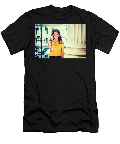 East Indian Woman Calling Outside Men's T-Shirt (Athletic Fit)