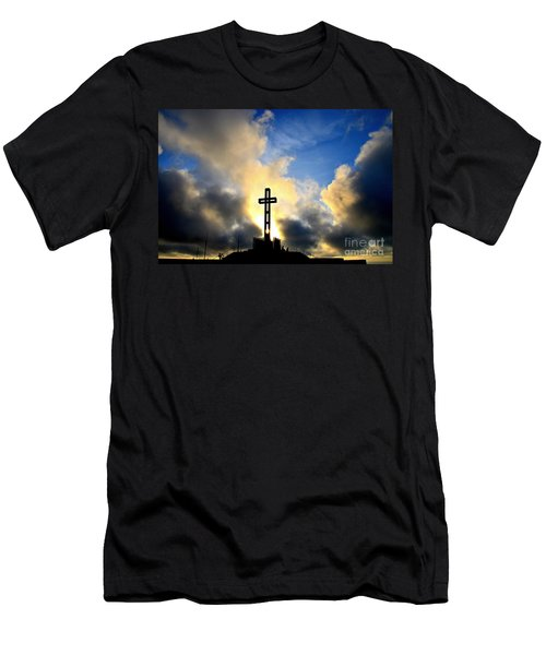 Easter Cross Men's T-Shirt (Slim Fit) by Sharon Soberon