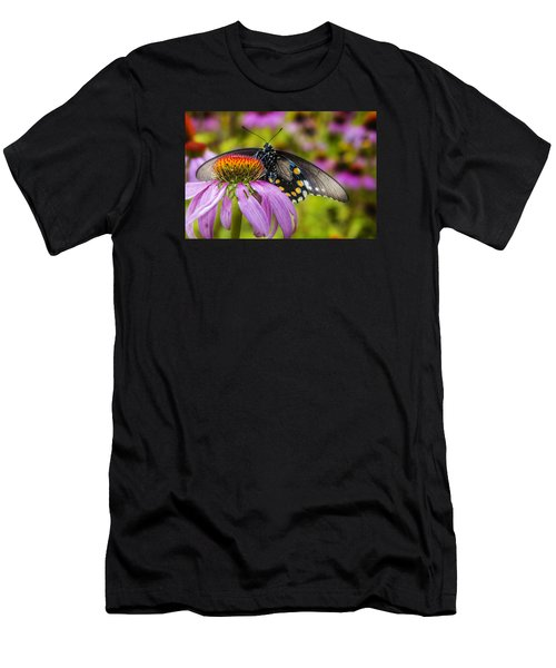 Men's T-Shirt (Athletic Fit) featuring the photograph Eastern Black Swallowtail Butterfly by Ken Barrett