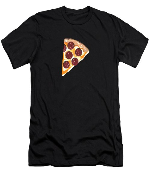 Men's T-Shirt (Slim Fit) featuring the mixed media Eat Pizza by Kathleen Sartoris