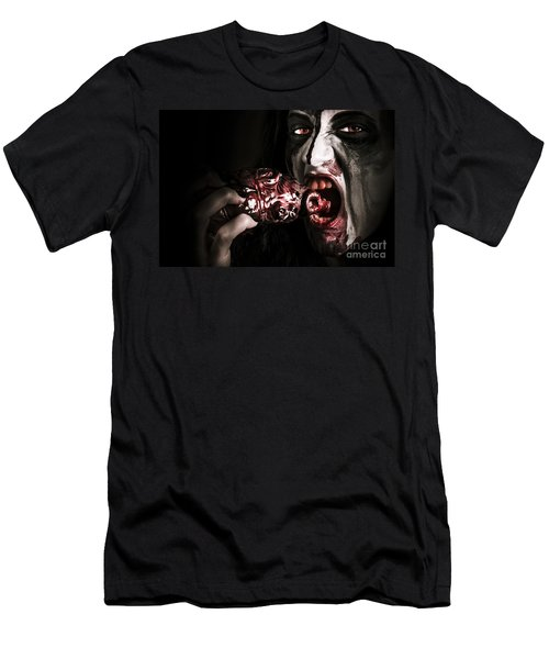 Eat Your Heart Out. Zombie Eating Bloody Heart Men's T-Shirt (Athletic Fit)