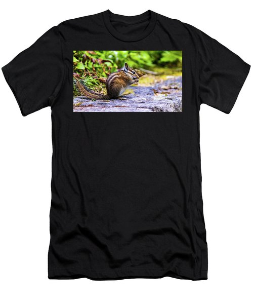Men's T-Shirt (Athletic Fit) featuring the photograph Eating Chipmunk by Jonny D