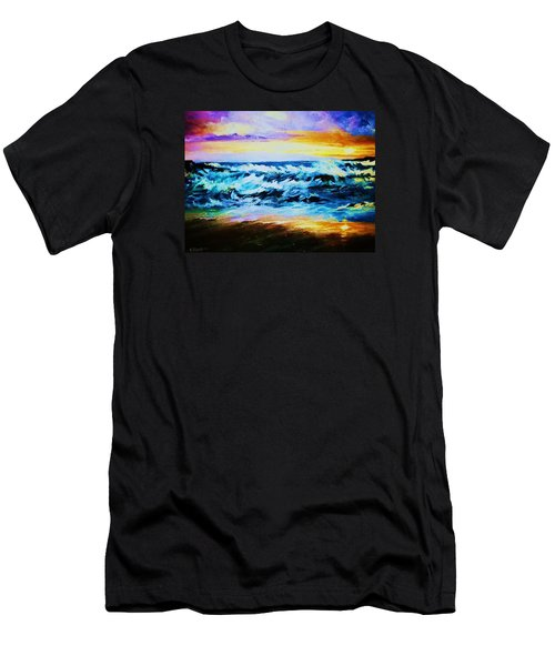 Men's T-Shirt (Slim Fit) featuring the painting Ebb Tide At Sunset by Al Brown