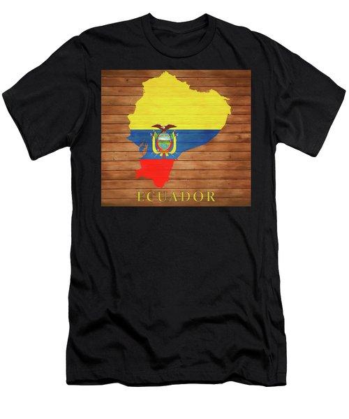 Ecuador Rustic Map On Wood Men's T-Shirt (Athletic Fit)