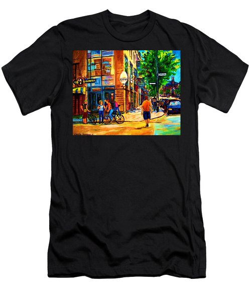 Men's T-Shirt (Slim Fit) featuring the painting Eggspectation Cafe On Esplanade by Carole Spandau