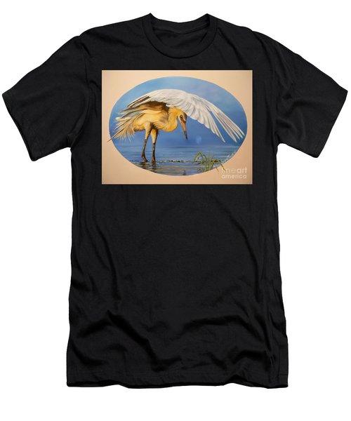 Chloe The  Flying Lamb Productions                  Egret Fishing Men's T-Shirt (Athletic Fit)