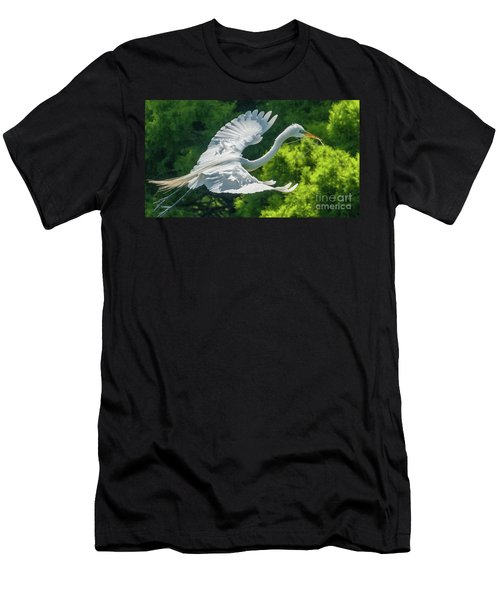 Egret Flying With Twigs Men's T-Shirt (Athletic Fit)