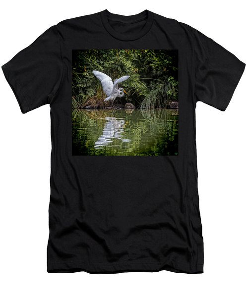 Men's T-Shirt (Athletic Fit) featuring the photograph Egret Hunting For Lunch by Chris Lord