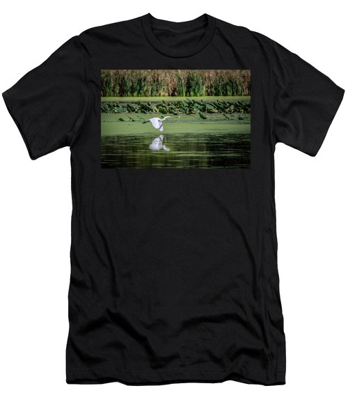 Egret Over Wetland Men's T-Shirt (Athletic Fit)
