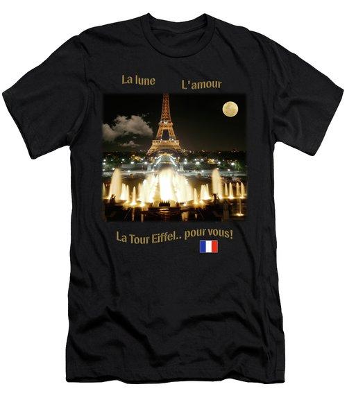 Eiffel Tower At Night Men's T-Shirt (Slim Fit) by Jon Delorme