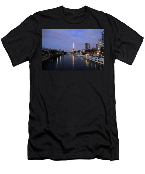 Eiffel Tower Over The Seine Men's T-Shirt (Athletic Fit)