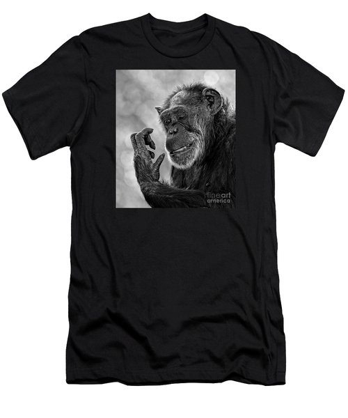 Elderly Chimp Studying Her Hand Men's T-Shirt (Athletic Fit)