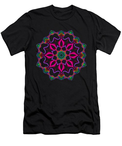 Electric Fractal Flower Men's T-Shirt (Athletic Fit)
