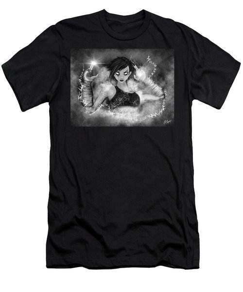 Men's T-Shirt (Athletic Fit) featuring the painting Electric Glitch - Black And White Fantasy Art by Raphael Lopez