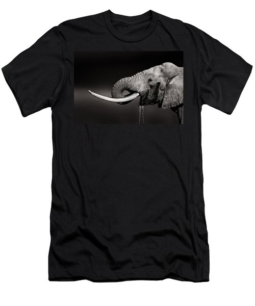 Elephant Bull Drinking Water - Duetone Men's T-Shirt (Athletic Fit)