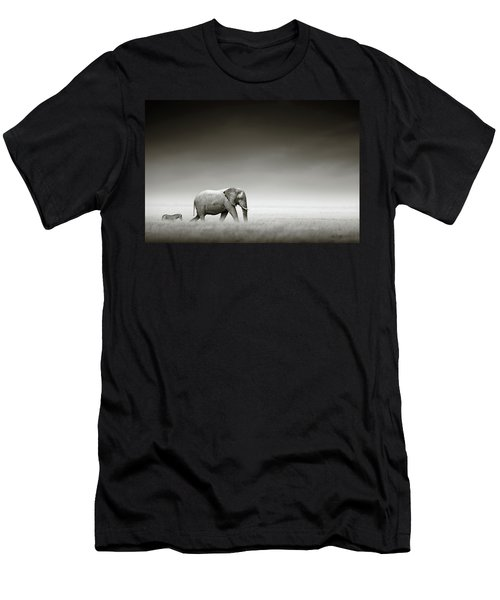 Elephant With Zebra Men's T-Shirt (Athletic Fit)