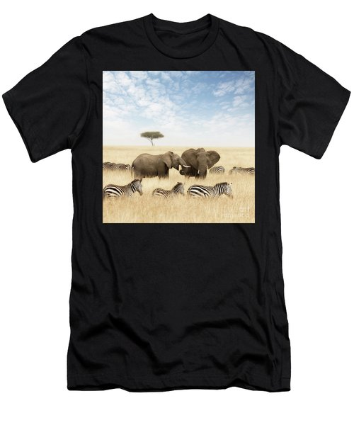 Elephants And Zebras In The Grasslands Of The Masai Mara Men's T-Shirt (Athletic Fit)