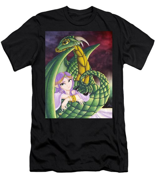 Elf Girl And Dragon Men's T-Shirt (Athletic Fit)